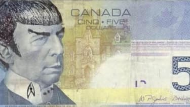 "Le billet de 5 dollars canadiens ""Spocké"""