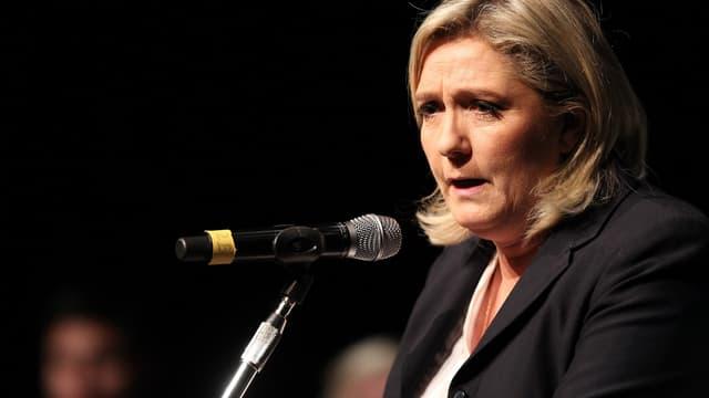 Marine Le Pen lors d'un meeting dans le Nord où elle est candidate aux régionales