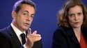 Nicolas Sarkozy et NKM lors d'un meeting au siège de l'UMP le 17 janvier 2015.
