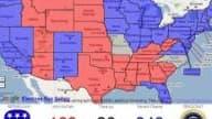 En rouge, les Républicains de McCain. En bleu, les Démocrates d'Obama.