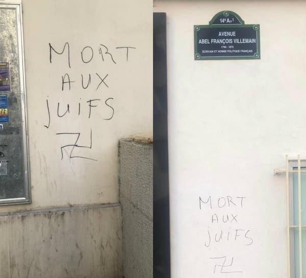 Des inscriptions antisémites découvertes dans le 14e arrondissement de Paris.