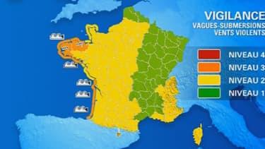 Les départements des Côte-d'Armor, du Finistère, des Landes, de Charente-Maritime, de Gironde et des Pyrénées-Atlantiques sont placés en vigilance orange jusqu'à vendredi 20 heures.