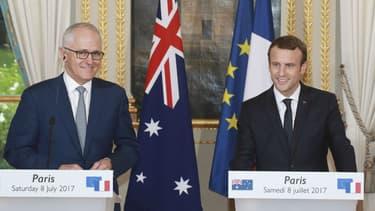 Emmanuel Macron reçoit le Premier ministre australien Malcolm Turnbull à l'Elysée, le 8 juillet 2017