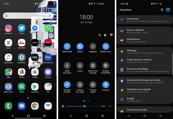 Interface du Samsung Galaxy S10