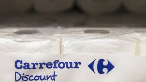 Le logo bleu de la marque Carrefour Discount disparaitra des rayons en 2015.