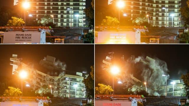 Explosion contrôlée de l'immeuble Champlain South tower, à Surfside près de Miami, le 4 juillet 2021