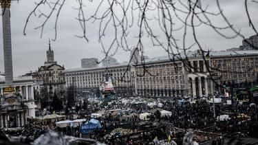 Une vue générale de la place Maïdan, à Kiev, le 25 février.