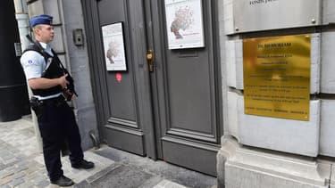 Entrée du musée juif de Bruxelles, en Belgique, le 9 septembre 2014.