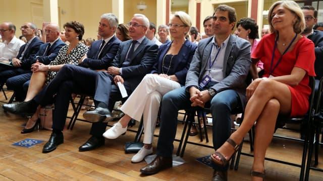 Plusieurs dirigeants de LR, dont Laurent Wauquiez et Valérie Pécresse, le 30 juin 2018