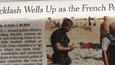 L'article sur le burkini est à la une du New York Times jeudi 25 août.