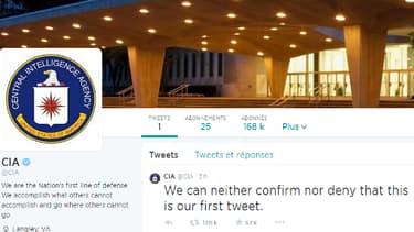 La page d'accueil et le premier tweet de la CIA, sur Twitter.