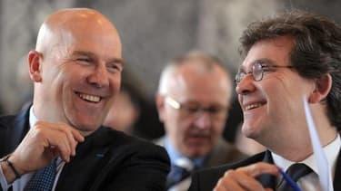 Bruno Bonnell (à gauche) et Arnaud Montebourg ( à droite), lors de la conférence de ce mardi.