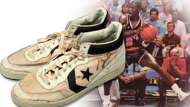 Ces baskets avaient été portées par la légende en 1984