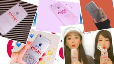 Les photos d'iPhone customisés aux couleurs de la marque Evian fleurissent sur les réseaux sociaux japonais. Un engouement mystérieux.