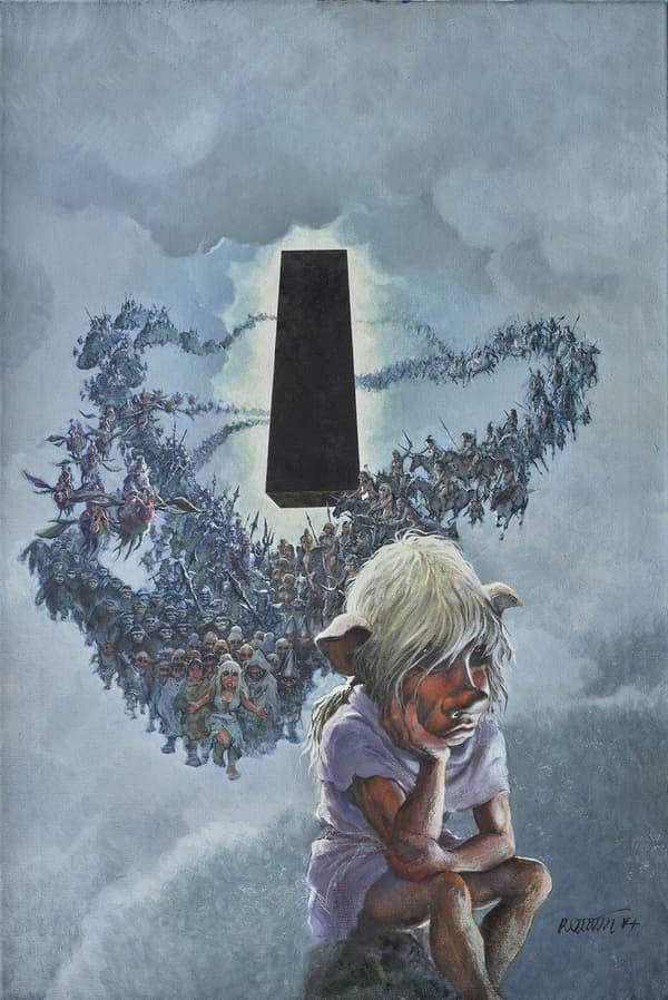 """Le dessin original de la couverture d'un album de Grzegorz Rosinski, """"Le Grand Pouvoir du Chninkel"""" (1988)"""