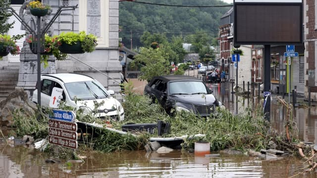 Inondations à Pepinster, le 16 juillet 2021 en Belgique