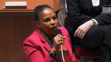 Christiane Taubira lors des débats sur le mariage pour tous à l'Assemblée, en 2013