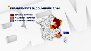 Les départements dont le couvre-feu va débuter à 18 heures