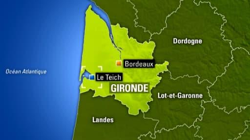 Localisation de la commune du Teich, en Gironde, où s'est produit l'accident.