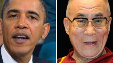 Barack Obama et le dalaï lama, montage. (Photo d'illustration)