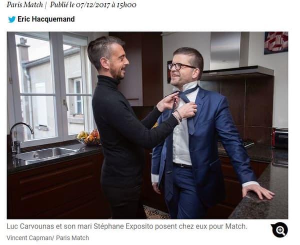 Luc Carvounas et son mari dans Paris Match.