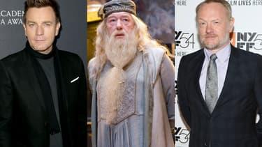 """Ewan McGregor (à gauche) et Jared Harris ( à droite) sont tous deux pressentis pour incarner Dumbledore (au centre, interprété ici par Michael Gambon) dans la suite des """"Animaux Fantastiques""""."""