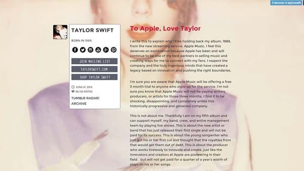 La lettre de Taylor Swift adressée à Apple.