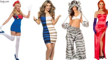 Des exemples de costumes, de gauche à droite: Super Marion, la fameuse robe dont n'est personne n'est d'accord sur les couleurs, un costume de loup, et Jessica Rabbit.