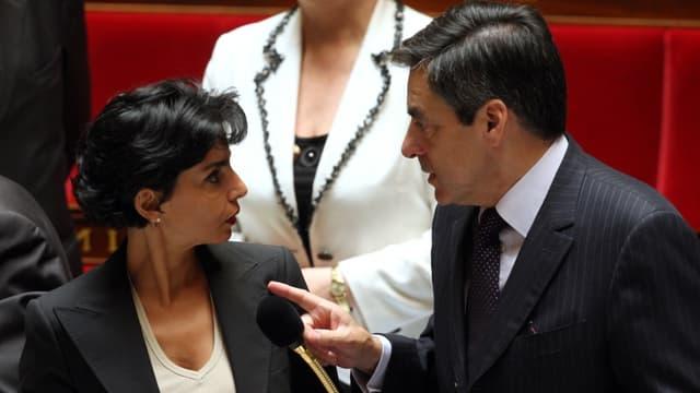 Rachida Dati et François Fillon à l'Assemblée le 11 juin 2008.