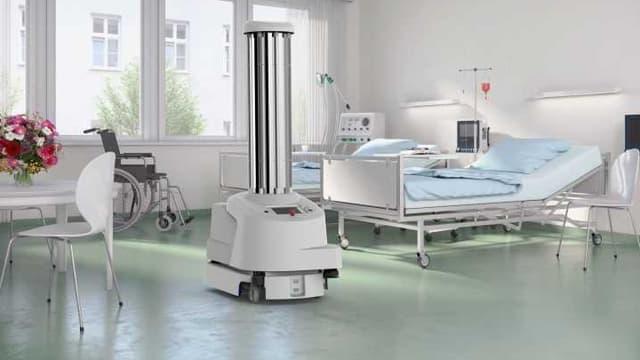 Le robot de Blue Ocean Robotics se déplace de manière autonome dans les chambres des patients et les salles d'opération, couvrant les surfaces critiques avec de la lumière ultra-violette afin de tuer virus et bactéries.