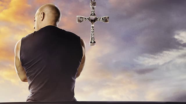 Detail of the poster of Fast & Furious 9, with Vin Diesel.