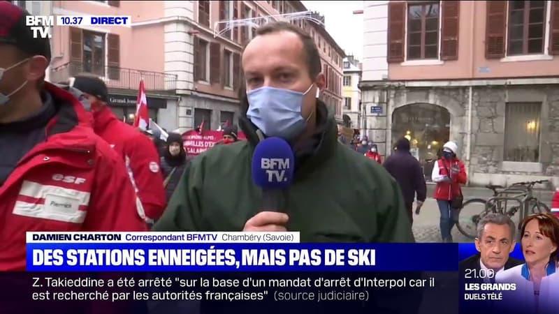 Les professionnels de la montagne manifestent à Chambéry et demandent l'ouverture des remontées mécaniques