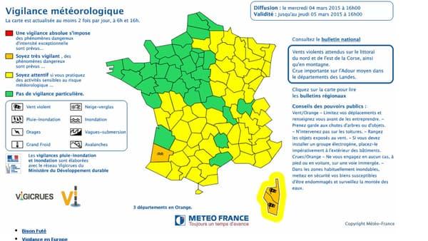 Carte de vigilance Météo France diffusée mercredi 4 mars à 16 heures.