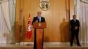 Hamadi Jebali, lors d'une conférence de presse à Tunis, lundi. Le Premier ministre tunisien a démissionné mardi après l'échec de son projet de formation d'un gouvernement de techniciens visant à mettre fin à la crise politique. /Photo prise le 18 février