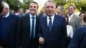 Emmanuel Macron et François Bayrou à Pau, le 12 avril 2017.