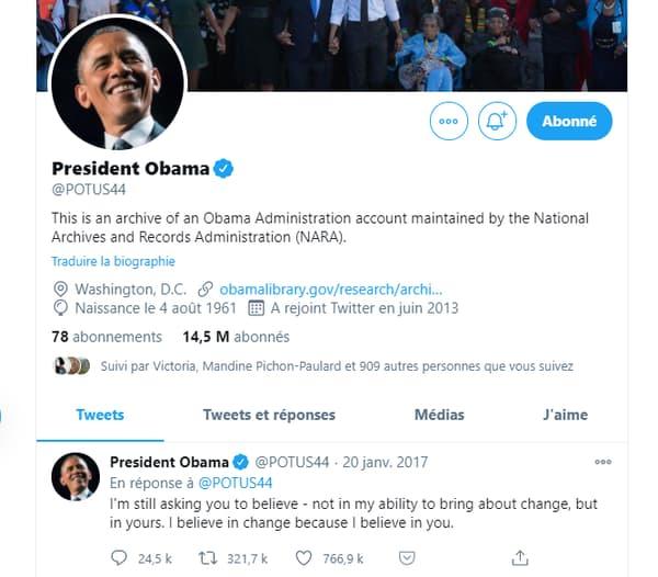 Le compte Twitter d'archives du président Obama