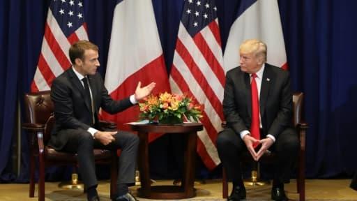 Le président français Emmanuel Macron, à gauche et son homologue américain Donald Trump à New York, le 24 septembre 2018.
