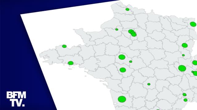 La carte des communes remportées par des listes écologistes.