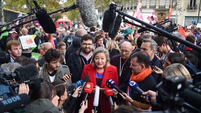 La présidente de la Manif pour tous, Ludovine de la Rochere, lors de la manifestation anti-PMA le 6 octobre 2019