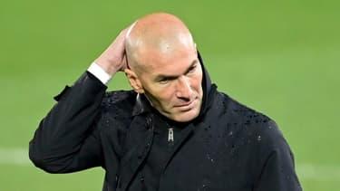 Zinédine Zidane, l'entraîneur du Real Madrid, à Valdebebas (banlieue madrilène), le 10 avril 2021