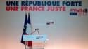 """Manuel Valls présente son nouveau slogan de campagne: """"Une République forte, une France juste""""."""