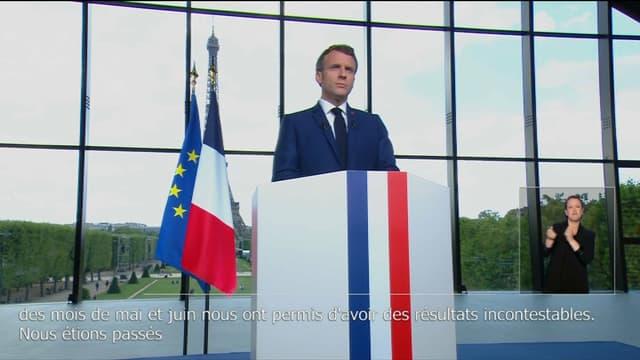 Emmanuel Macron, le 12 juillet 2021 au Grand Palais Ephémère