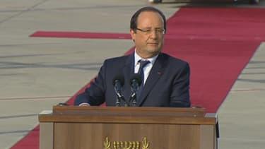 François Hollande s'est exprimé sur le tarmac de l'aéroport de Tel-Aviv, à l'occasion de sa première visite en Israël.
