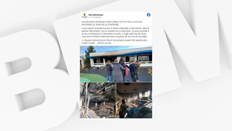 Étampes: une deuxième école touchée par un incendie en moins d'une semaine