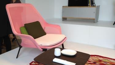 Ce fauteuil a été repéré au premier coup d'oeil par la responsable couleur matière de Citroën, Hélène Veilleux. Elle pourrait bien servir d'inspiration pour un prochain modèle aux chevrons.