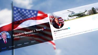 Les comptes Facebook et Twitter de Donald Trump