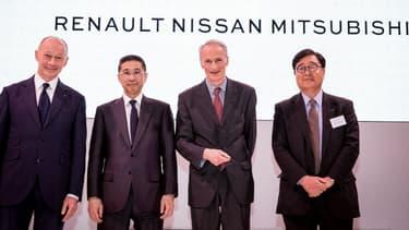 Les dirigeants de Renault, Nissan et Mitsubishi lors d'une réunion le 12 avril 2019.