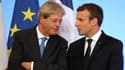 Le Premier ministre italien Paolo Gentiloni et le président français Emmanuel Macron.