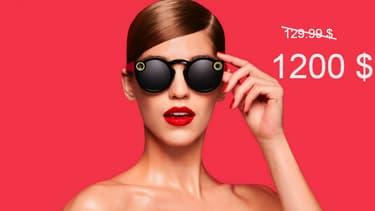 Vendues au compte-gouttes par des bornes robots jaunes, les lunettes connectées Spectacles de Snapchat flambent déjà à la revente.