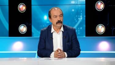 Philippe Martinez sur le plateau de BFM Politique.